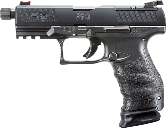 "Picture of Walther PPQ Q4 Tac SA Semi-Auto Pistol-  9mm, 4.6"" Barrel, Threaded, Black, Adjustable Rear & Red Fiber Optic Front Sight, 3x10rds, Backstraps"