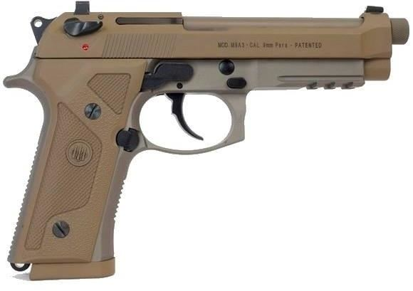 """Picture of Beretta M9 A3 DA/SA Semi-Auto Pistol - 9mm Luger, 125mm, Chrome Lined, 1/2""""x28 Threaded w/Protector, Cerakote Flat Dark Earth/Anodizing/Bruniton/Black Oxide/PVD Finished, Steel Slide & Alloy Frame w/3-Slot Picatinny Rail, Vertec-Style Thin Grips"""