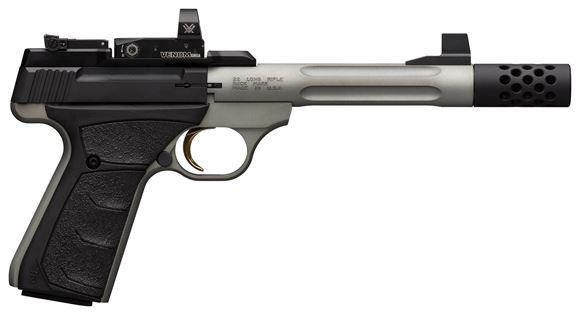 "Picture of Browning Buck Mark Lite Competition UFX Rimfire Semi-Auto Pistol - 22 LR, 5.9"" Lightweight, Matte Grey Finish, Steel, Aluminum Alloy Receiver, UFX Rubber Grips, 2x10rds, Vortex Venom Red Dot Sight"