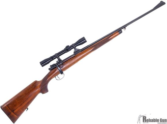 Picture of Used Custom Mauser 98 Bolt Action Rifle - 8x57, Walnut Stock, Engraving on Receiver, Leupold Bases & Rings, Fixed 4x Prominar Scope, Butter Knife Bolt Handle, Very Good Condition