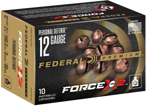 "Picture of Federal Premium FX2 Personal Defence Shotgun Ammo - 12Ga, 2-3/4"", 9 Pellets, 00 Buck, 10rds Box, 1245fps"