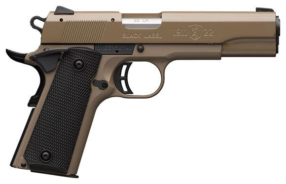 "Picture of Browning 1911-22 Black Label FDE SA Semi-Auto Pistol - 22 LR, 4-1/4"", Cerakote Elite Flat Dark Earth Finish, Black Composite Grips, 2x10rds, Steel 3-Dot Front & Rear Sights"