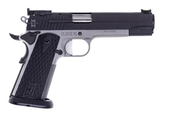 Picture of Used Sig Sauer 1911 Max 45 ACP, 53 Garolite Grp Fiber Optic, S/S Frame. Max Michel Edition