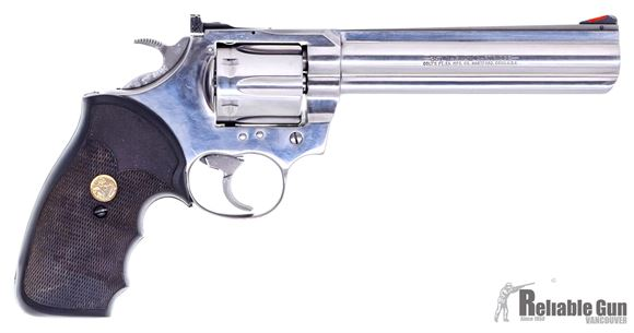 """Picture of Used Colt King Cobra Double-Action Revolver - .357 Mag, 6"""" Barrel, Stainless Steel, Pachmayr Rubber Grip, 1986 Production, Adjustable Rear Sight, Original Box, Good Condition"""