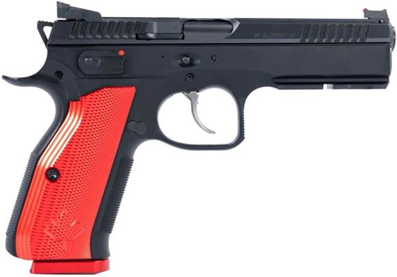 "Picture of CZ Shadow 2 Canada Limited Edition DA/SA Semi-Auto Pistol - 9mm, 4.89"", Hammer Forged, Black Polycoat w/ Laser Etched Flag, Red Thin Aluminum Grips w/ Maple Leaf, 4x10rds w/ Red Mag Bases, Fiber Optic Front & Fixed Rear Sights"
