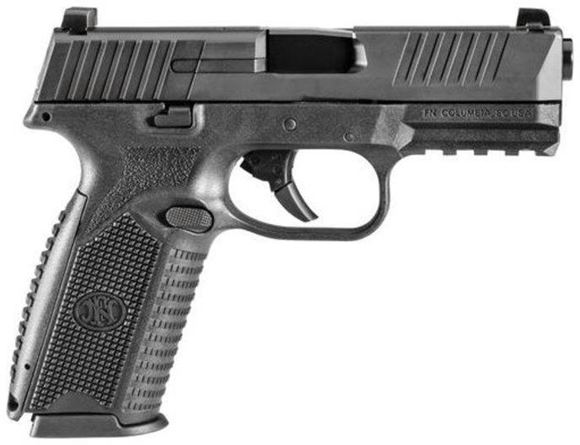 Picture of FN Herstal (FNH) FNS-9 Canada Double Action Semi-Auto Pistol - 9mm, 106mm, Cold Hammer-Forged Stainless Steel, Matte Black Stainless Steel Slide, Black Polymer Frame, 3x10rds, Fixed 3-Dot Sights, Fully-Ambidextrous Slide Stop Levers & Magazine Release, w