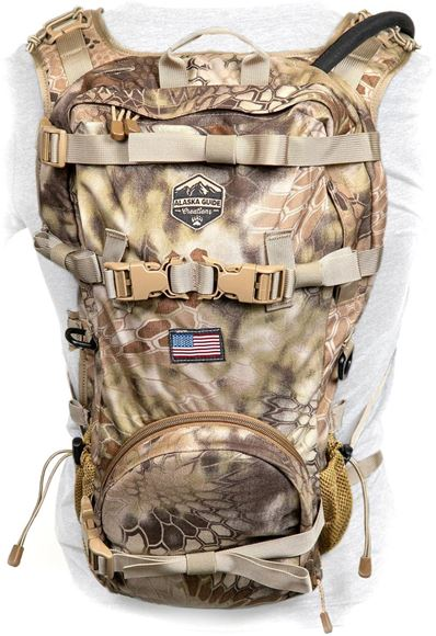 Picture of Alaska Guide Creations Packs - Scout Backpack, Kryptek Camo, 2 lbs 13 oz, 1400 Cubic Inches, Hardware to Attach AGC Binopack, Ambi Hose Holes, Capable of Carrying Rifle, Bow or Shotgun, Includes 3L Bladder w/ Insulated Hose