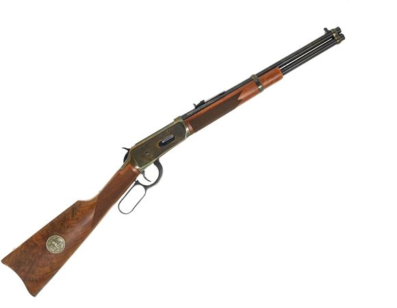 """Picture of Used Winchester 94 """"Legendary Lawmen Trapper"""" Lever Action Rifle, 30-30 Win, 16"""" Barrel, Saddling Ring, Engraved Colour Case Hardened Receiver, Medallion in Stock, Excellent Condition"""