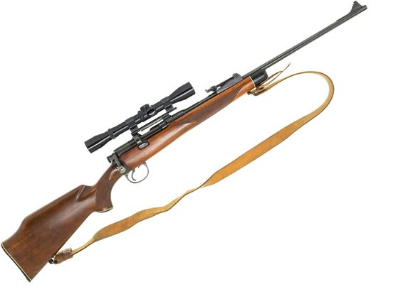 Picture of Used Lee Enfield No 1 Mk III Bolt-Action Rifle - 303 British, Replacement Sporterized Stock & Front Sight, J.C Higgins 4x32 Scope, Leather Sling, 1 Mag, Good Condition