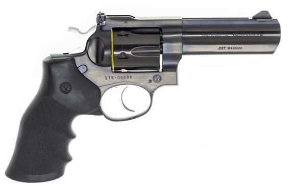 """Picture of Used Ruger GP100 DA/SA Revolver - 357 Mag, 4.25"""", Blued, Steel, Hogue Monogrip Grips, 6rds, Ramp Front & Adjustable Rear Sights, Original Box, Very Good Condition"""