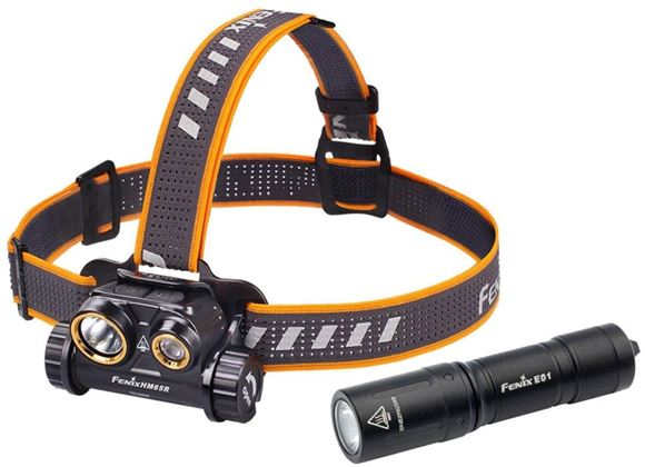 Picture of Fenix Headlamp, Combo Series - HM65R Dual Light Source Magnesium Headlamp & E01 V2.0 Mini Keychain Flashlight, 1400 Lumen, 300 Hrs, 18650 Battery