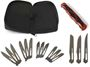 Picture of Havalon Knives, Hydra Red Knife - Fits all Havalon blades, Red Aluminum Alloy Handle, Zipper Carry Case, 3 Baracuta Blades (#127XT), (#115XT) and (#115SW), 12  Piranta blades, 3 each of #60A, #70A, #22XT and #22