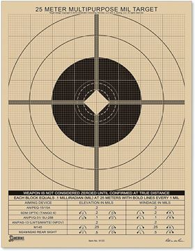"Picture of Rite In The Rain, Paper Targets - All Weather 25 Meter MIL Targets, 8.5""x11"", MIL Multipurpose Target, 25m Sight Adjustment Grid, 25 Pack"