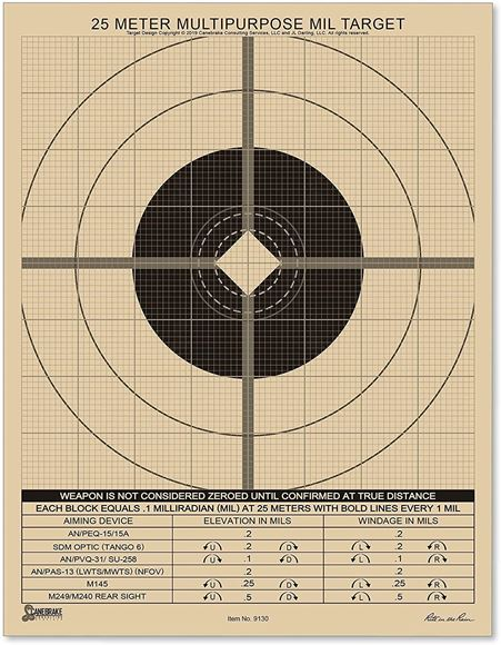 """Picture of Rite In The Rain, Paper Targets - All Weather 25 Meter MIL Targets, 8.5""""x11"""", MIL Multipurpose Target, 25m Sight Adjustment Grid, 25 Pack"""