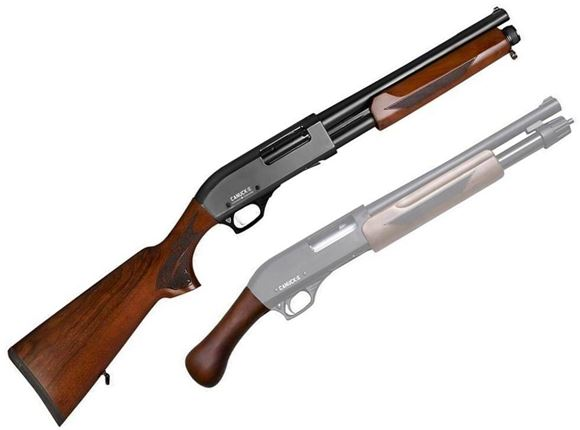"Picture of Canuck Regulator/Defender Combo Pump Action Shotgun - 12ga, 3"", 14"", Wood Stock & Bird Head Style Grip, 4rds, Mobil Choke Flush (F,M,IC)"