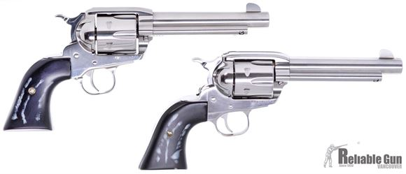 """Picture of Used Ruger Vaquero SASS Set SA Revolvers - 45 Colt, 5.5"""", High Gloss Stainless, Custom Grips & Original Black Checkered Grips, 6rds, Fixed Sights, Montado Style Hammer, Consecutive Serial Numbers, Original Box, Excellent Condition"""