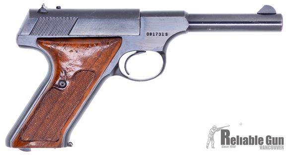 """Picture of Colt Huntsman Surplus Semi-Auto Rimfire Pistol -  22 LR, 4.5"""", Blued, Fixed Sights, Wood Grips, One Mag, Very Good Condition"""