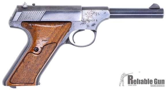 """Picture of Colt Huntsman Surplus Semi-Auto Rimfire Pistol -  22 LR, 4.5"""", Blued, Fixed Sights, Wood Grips, One Mag, Pitting Spot on Left Side of Frame, Good Condition"""