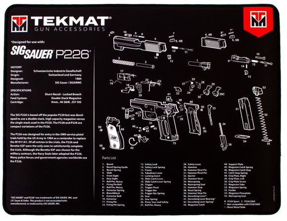 """Picture of Tekmat Ultra 20, Sig Sauer P226 Gunsmith's Bench Mat - Extra Thick Black Neoprene, with Exploded Parts View, 15""""x20"""""""