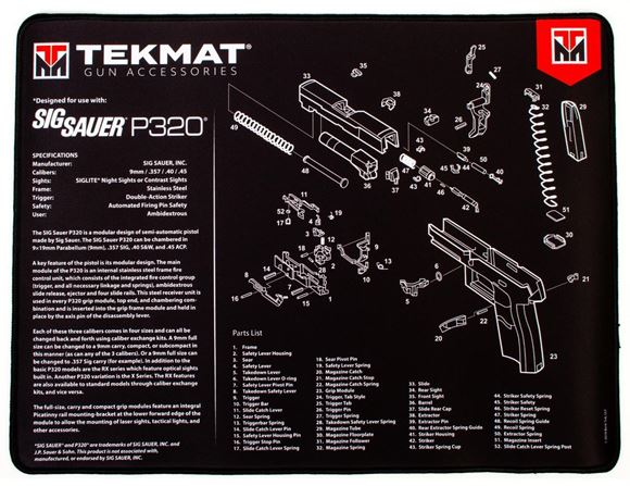 """Picture of Tekmat Ultra 20, Sig Sauer P320 Gunsmith's Bench Mat - Extra Thick Black Neoprene, with Exploded Parts View, 15""""x20"""""""