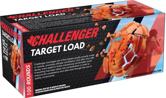"Picture of Challenger Target Loads Shotgun Ammo - 12Ga, 2-3/4"", 3 DE, 1-1/8oz, #8, 100rds Brick, 1200fps"