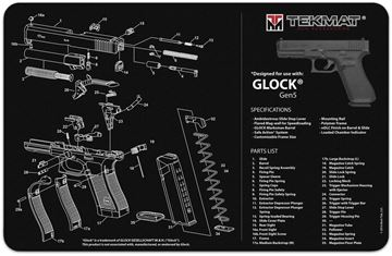 "Picture of Tekmat, Glock Gen 5 Bench Mat - Extra Thick Black Neoprene, with Exploded Parts View, 11""x17"""