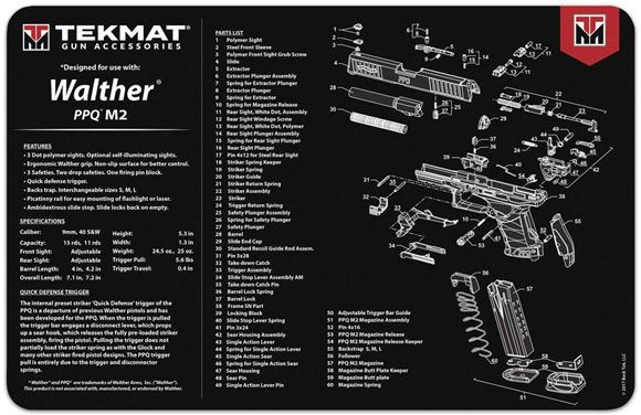 """Picture of Tekmat, Walther PPQ Bench Mat - Extra Thick Black Neoprene, with Exploded Parts View, 11""""x17"""""""