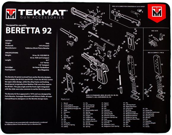 """Picture of Tekmat Ultra 20, Beretta 92 Gunsmith's Bench Mat - Extra Thick Black Neoprene, with Exploded Parts View, 15""""x20"""""""