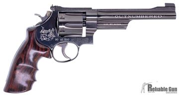 "Picture of Pre Owned Unfired Smith & Wesson (S&W) Model 27-5 (1990 Year)''OUTNUMBERED'' DA/SA Revolver Model 100999 - 357 Mag, 6-1/2"", Blued, Wood Grip, Counter Bored Cylinder, Adj Rear Partridge Front Sight, 90 of 500 (Only 266 Completed)  Hunting Scene Laser Engr"