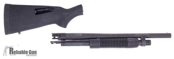 """Picture of Used Mossberg Barrel Kit - 18-1/2"""" Cyl Bore Barrel, 3"""", Corn Cob Forend, Synthetic Stock, Black, Mag Spring & Extension, Very Good Condition"""