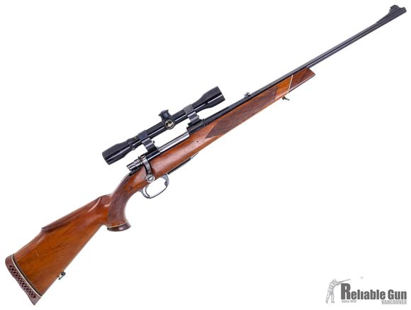 "Picture of Used Parker Hale Safari Bolt-Action 308 Win, 22"" Barrel, With Bushnell Scopechief 4x On Weaver Tip Off Rings, Detatchable Mag, Crack in Stock at Tang, Fair Condition"