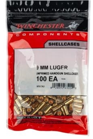 Picture of Winchester Components, Cases, Rifle Shellcases - 9mm Luger, Unprimed Shellcases, 100/Bag