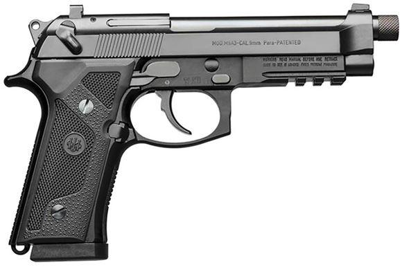"Picture of Beretta M9A3 Aqua-Tek DA/SA Semi-Auto Pistol - 9mm Luger, 5"", 1/2""x28 Threaded w/Protector, Aqua-Tek Finished, Steel Slide & Alloy Frame w/3-Slot Picatinny Rail, Vertec-Style Thin Grips"