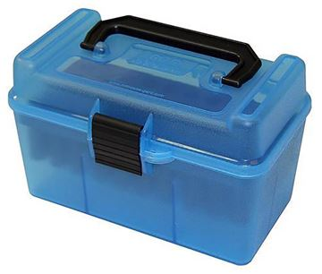 Picture of MTM Case-Gard Deluxe H-50 Series Rifle Ammo Case - H50-RS, 50rds, Clear Blue