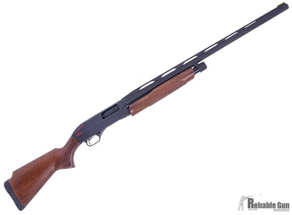 "Picture of Used Winchester SXP Trap Compact Pump Action Shotgun - 12Ga, 3"", 28"", Vented Rib, Matte Black Aluminum Alloy Receiver, Gr. 1 Hardwood Stock w/Monte Carlo Comb, 13"" LOP, White Mid Bead Front & Ivory Mid Bead Sights, Original Box, Excellent Condition"