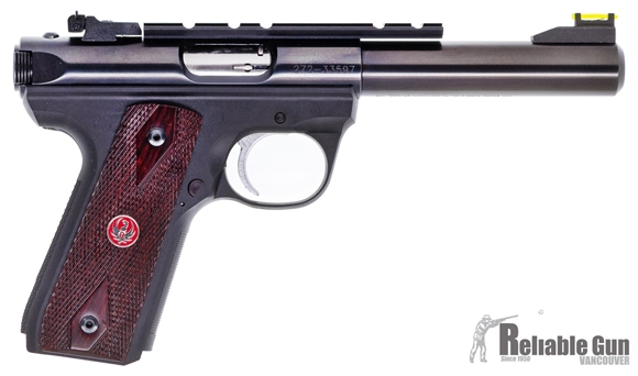 Picture of Used Ruger 22/45 Mark III, 22 LR, 5.5'' Blued Barrel, Wood Grips, Hi Viz Front Sight, Rail, 5 Magazines, Very Good Condition