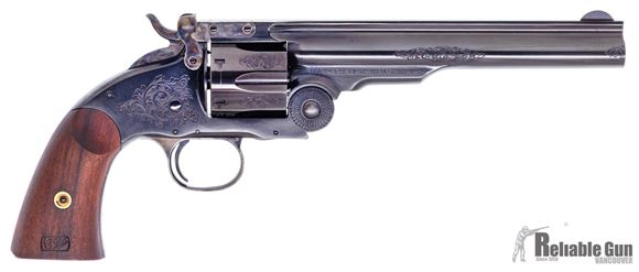 "Picture of Taylor's & Co. Uberti Smith & Wesson No3 Single Action Schofield Model 2 Reproduction  45 Colt, 7"" Barrel, Engraved Blued, Top Break, New Condition"
