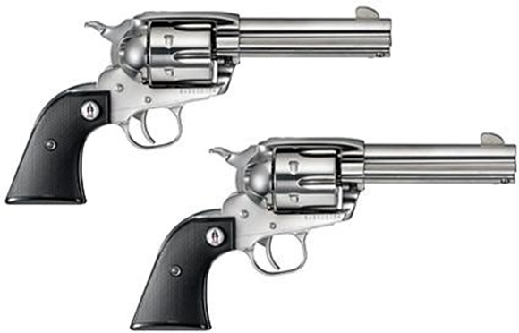 """Picture of Ruger Vaquero SASS Single Action Revolvers - 357 Mag, 4-5/8"""", 1:16"""" RH, High-Gloss Stainless, Stainless Steel, Black Checkered Grips w/ SASS Logo, 6rds, Fixed Sights, Sequential Pair"""
