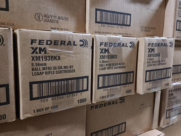 Picture of Federal Rifle Ammo - 5.56x45mm NATO, 55Gr, Metal Case Boat-Tail (M193 Ball) LCAAP, 1000rds Case