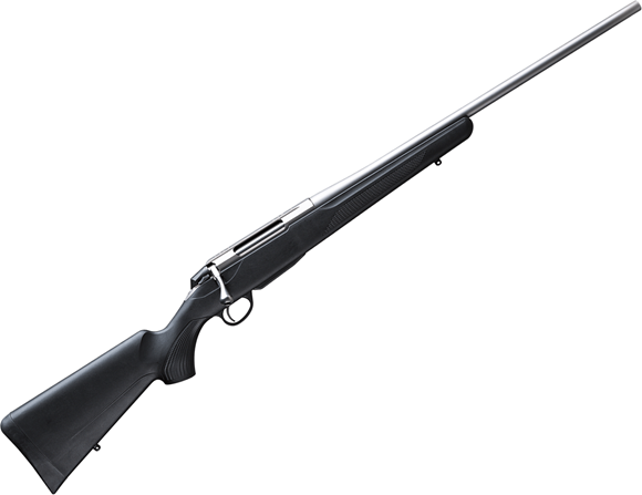 """Picture of Tikka T3X Lite Bolt Action Rifle - 22-250, 22.4"""", Stainless Finish, Black Modular Synthetic Stock, Standard Trigger, 3rds, No Sights"""