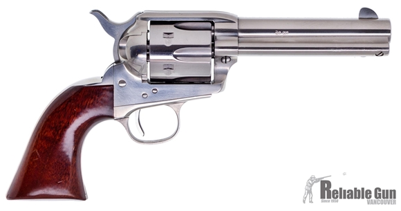 "Picture of Used Uberti Model 1873 Cattleman Single Action Revolver, 357 Mag, 6-Shot, Stainless 4.75"" Barrel, Wood Grips, Good Condition"