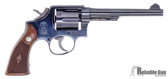 """Picture of Used Smith & Wesson Model 10 Military & Police Revolver - 38 S&W Special, 6"""", Blued, Checkered Wood Grip, Very Good Condition"""