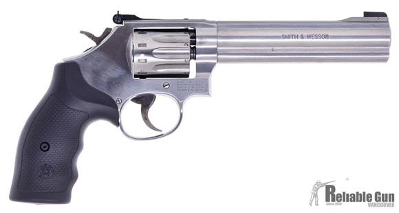 """Picture of Used Smith & Wesson (S&W) Model 617-6 Rimfire DA/SA Revolver - 22 LR, 6"""", Satin Stainless Steel Frame & Cylinder, Black Rubber Grips, Original Box, Very Good Condition"""