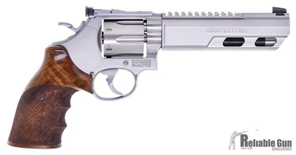 "Picture of Used Smith & Wesson (S&W) Performance Center Model 686-6 Competitor DA/SA Revolver - 357 Mag, 6"", Weighted Barrel, Stainless Steel Frame & Cylinder, Medium Frame (L), Nill Deluxe RH Grip, 6rds, Patridge Dovetail Front & LPA Adjustable Rear Sights, Excell"