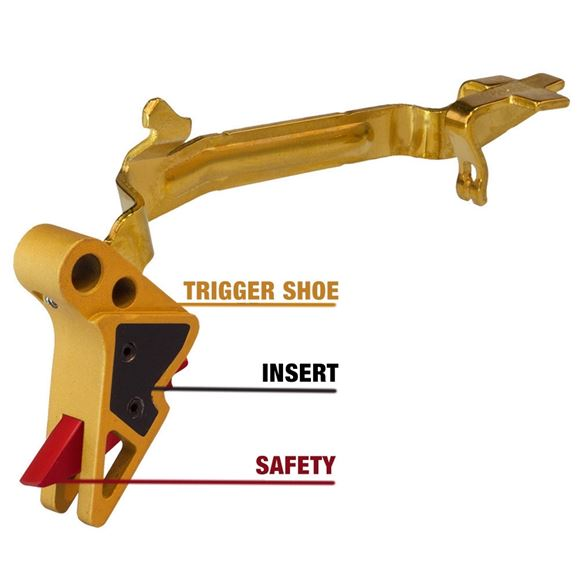 Picture of Pyramid Trigger, Glock Triggers - Glock Gen 5, Basic Flat Faced Trigger, Black Shoe, Gold Insert, Gold Safety