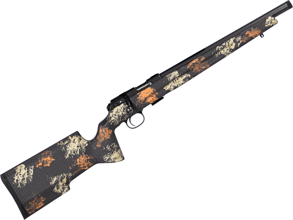 """Picture of CZ 457 Varmint Precision Trainer MTR SR Bolt Action Rimfire Rifle - 22 LR, 16"""" Heavy Barrel, 1:16"""", Cold Hammer Forged, Threaded, Manners Composite Orange Camo Stock, No Sights, 5rds"""
