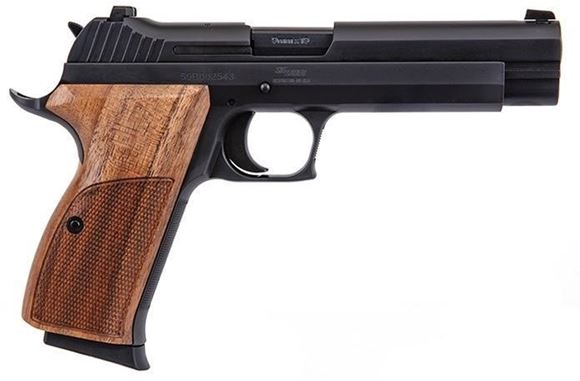 """Picture of Sig Sauer P210 Standard Target Single Action Semi Auto Pistol - 9mm Luger, 5"""", Black, 2x8rds, Walnut Target Grip, Fixed Contrast Sights"""
