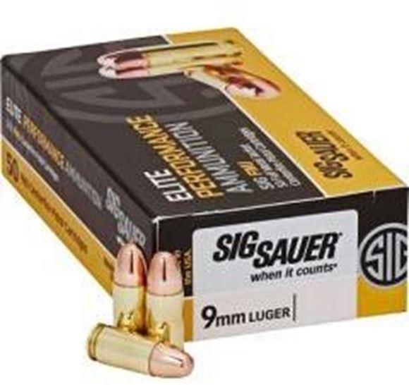 Picture of Sig Sauer Elite Performance Handgun Ammo - 9mm Luger, 115Gr, FMJ, 50rds Box, 1185fps