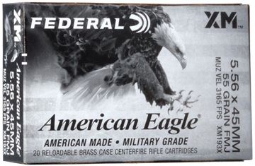 Picture of Federal American Eagle Rifle Ammo - XM193X, 5.56 NATO, 55gr, FMJ, 20rd Box