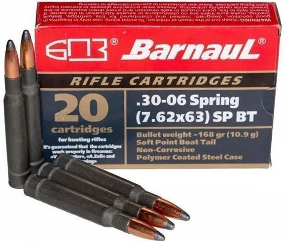 Picture of BarnauL Rifle Ammo - 30-06 Sprg (7.62x63mm), 168Gr, Soft Point, Zinc Plated Steel Case, Non-Corrosive, 500rds Case